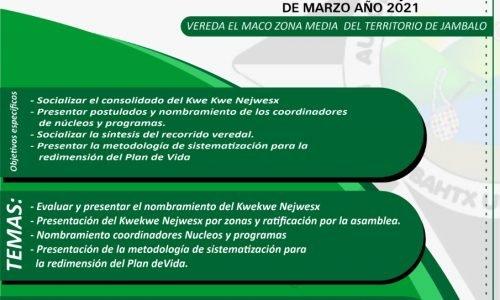 ASAMBLEA Nº 146 PLAN DE VIDA PROYECTO GLOBAL VEREDA EL MACO.